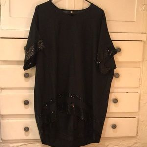 Black Short sleeve sequined top